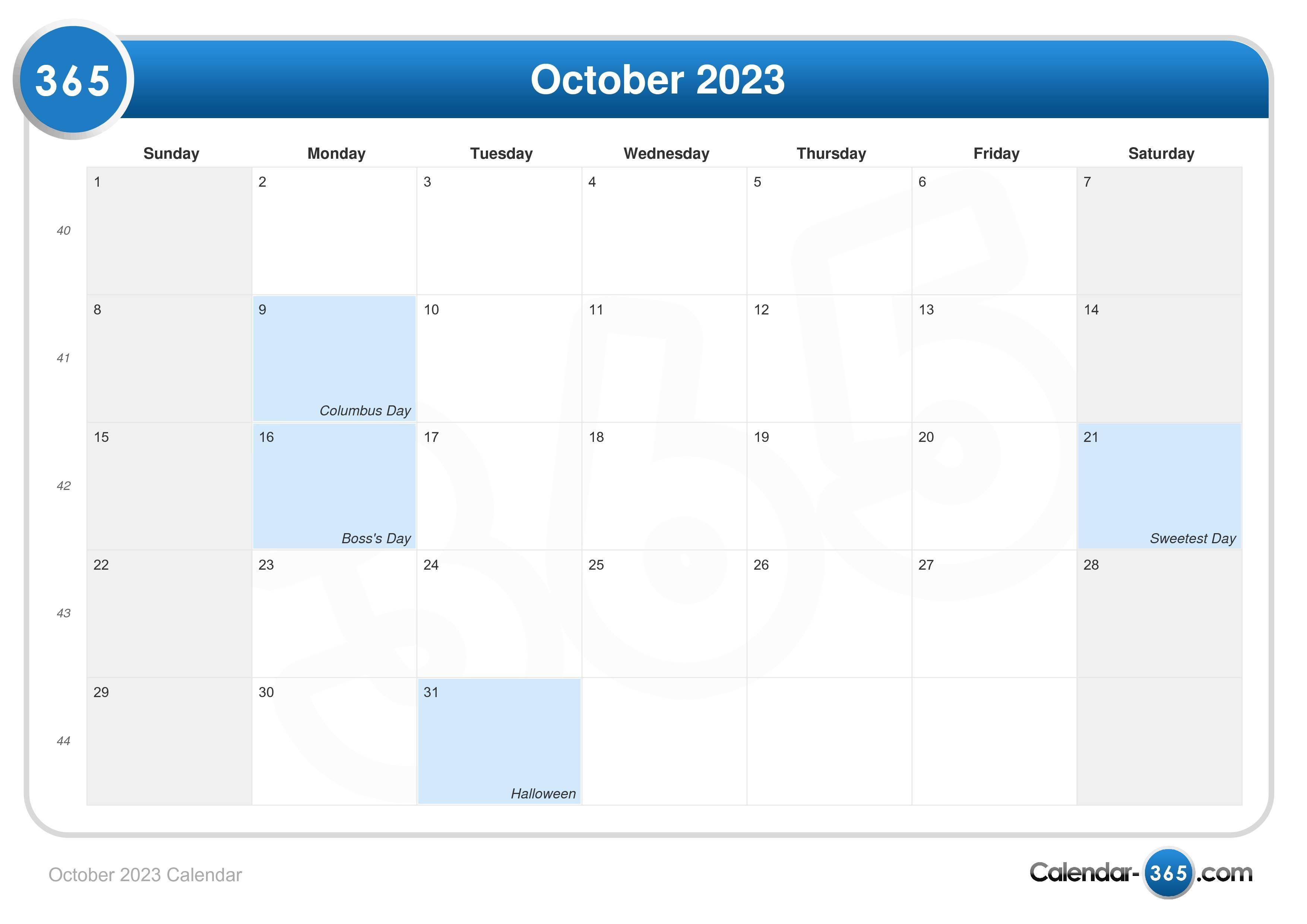 october 2023 calendar