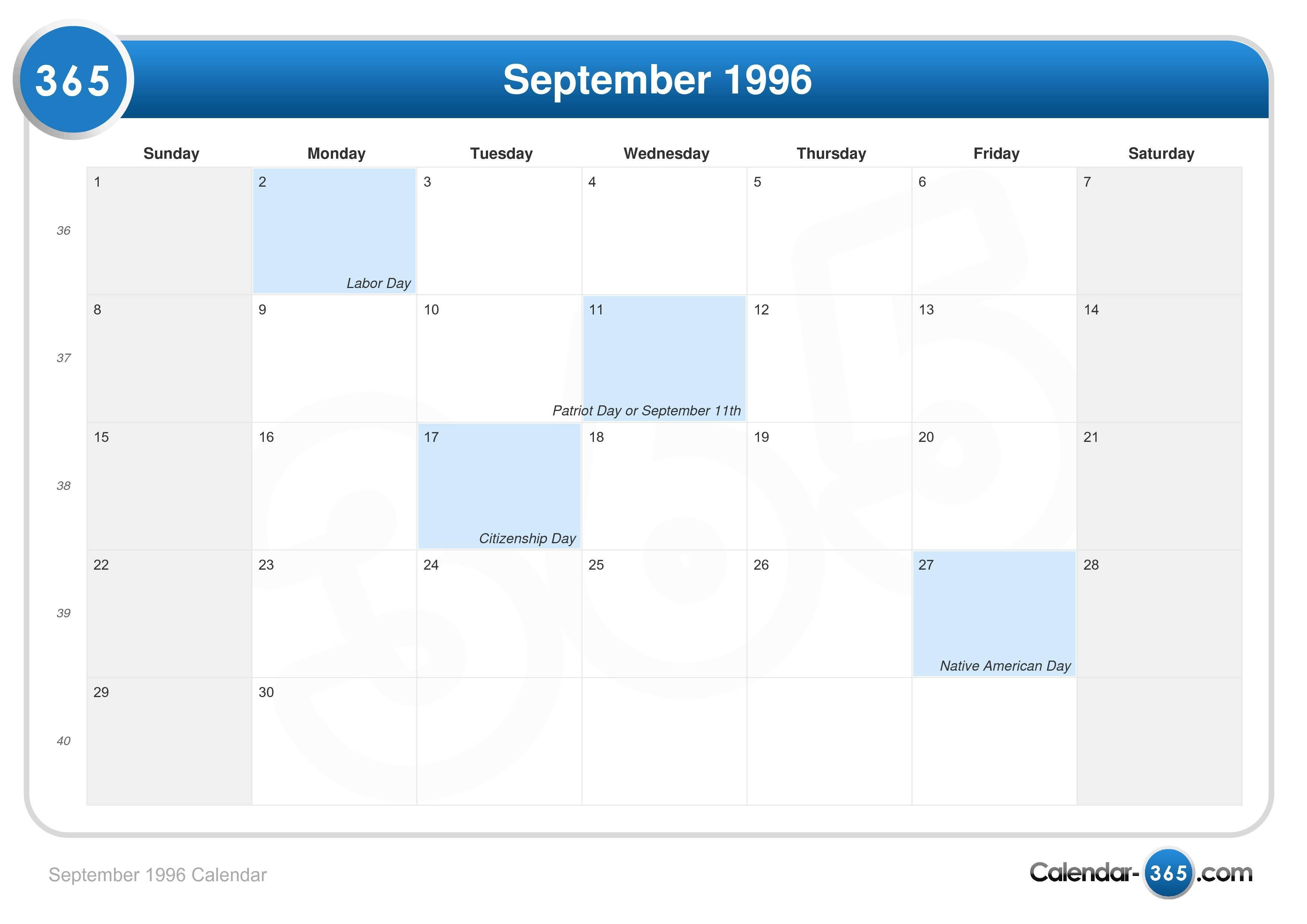 September 1996 Calendar