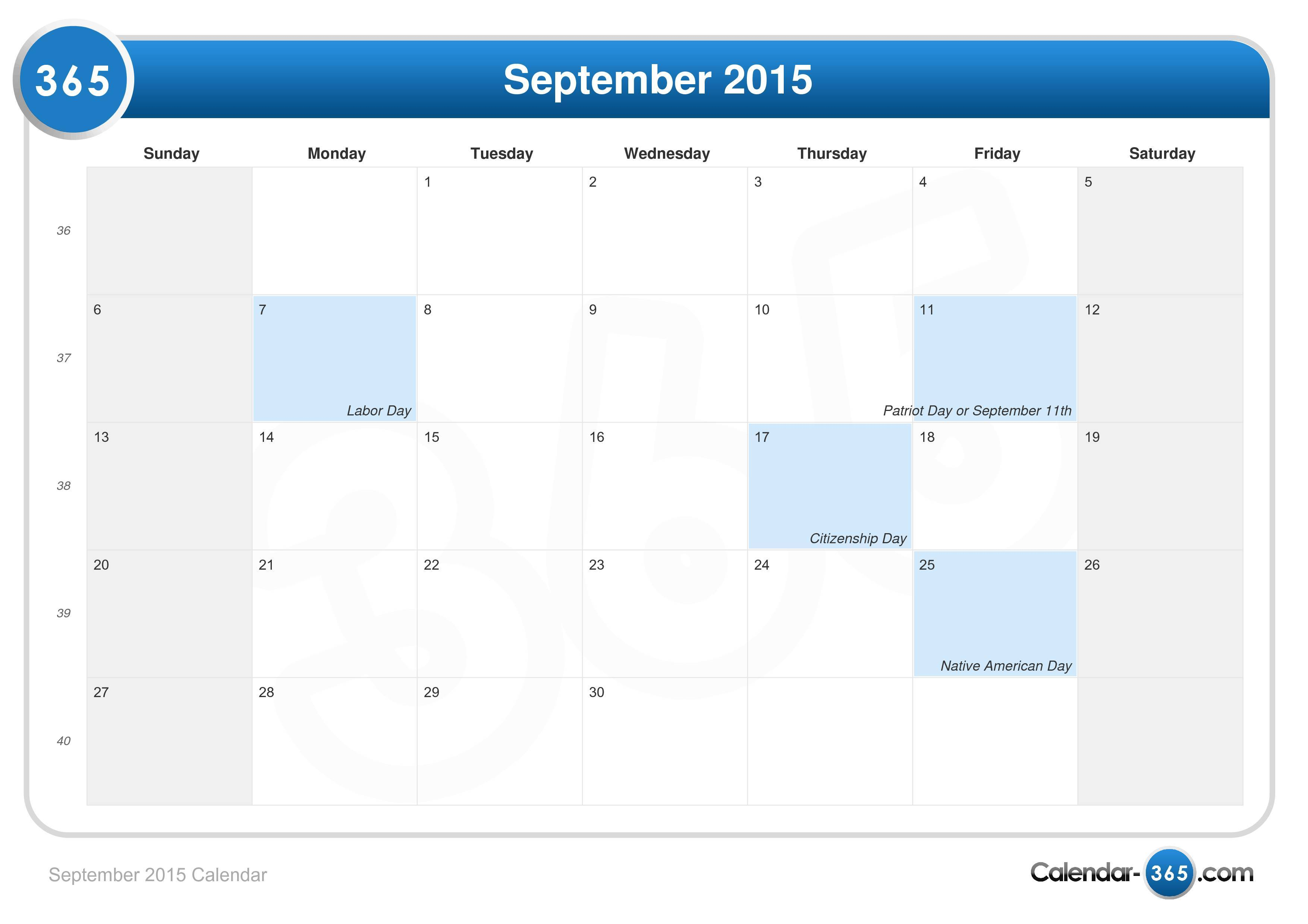 Sept Calendar 2020.September 2015 Calendar With Holidays Erha Yasamayolver Com