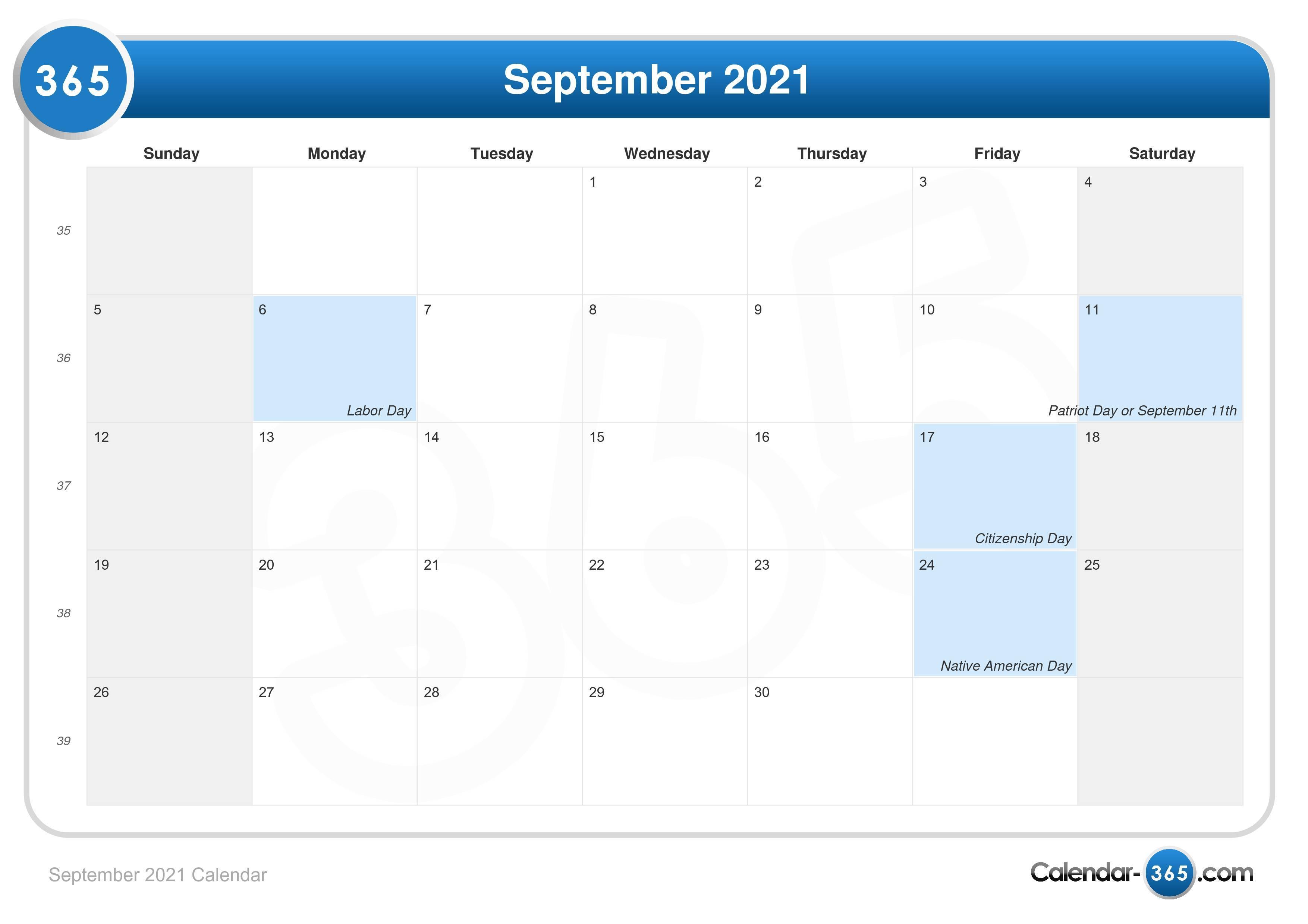 2021 Labor Day Calendar September 2021 Calendar